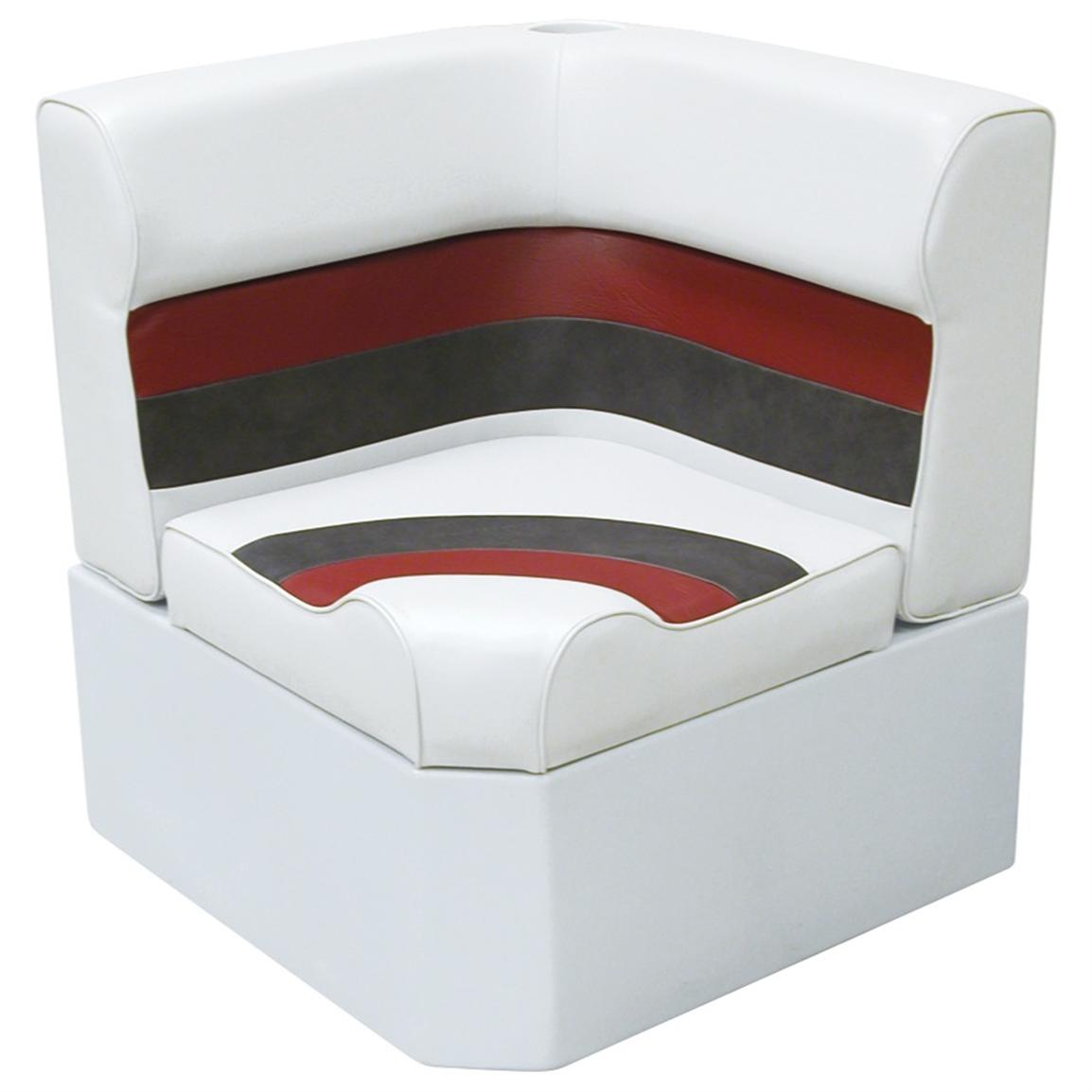 Wise® Deluxe Corner Pontoon Seat, White / Charcoal / Red