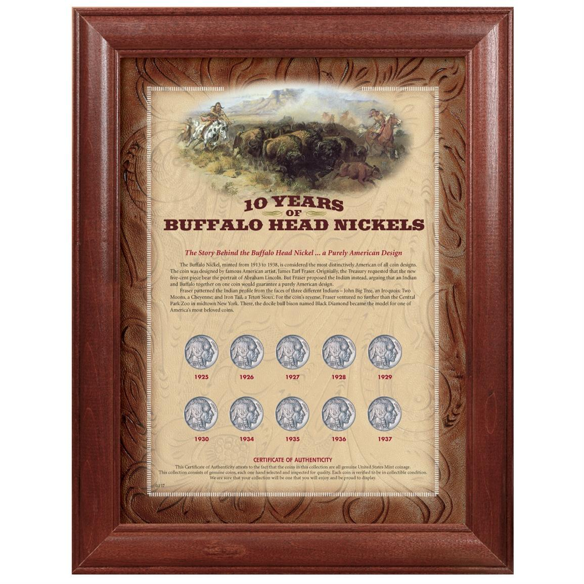 American Coin Treasures® 10 Years of Buffalo Nickels Wood Frame 10-Pc. Display