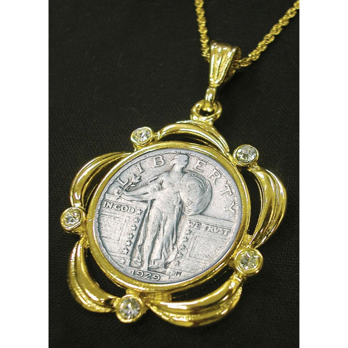 American Coin Treasures® Silver Standing Liberty Quarter Goldtone Scalloped Crystal Pendant