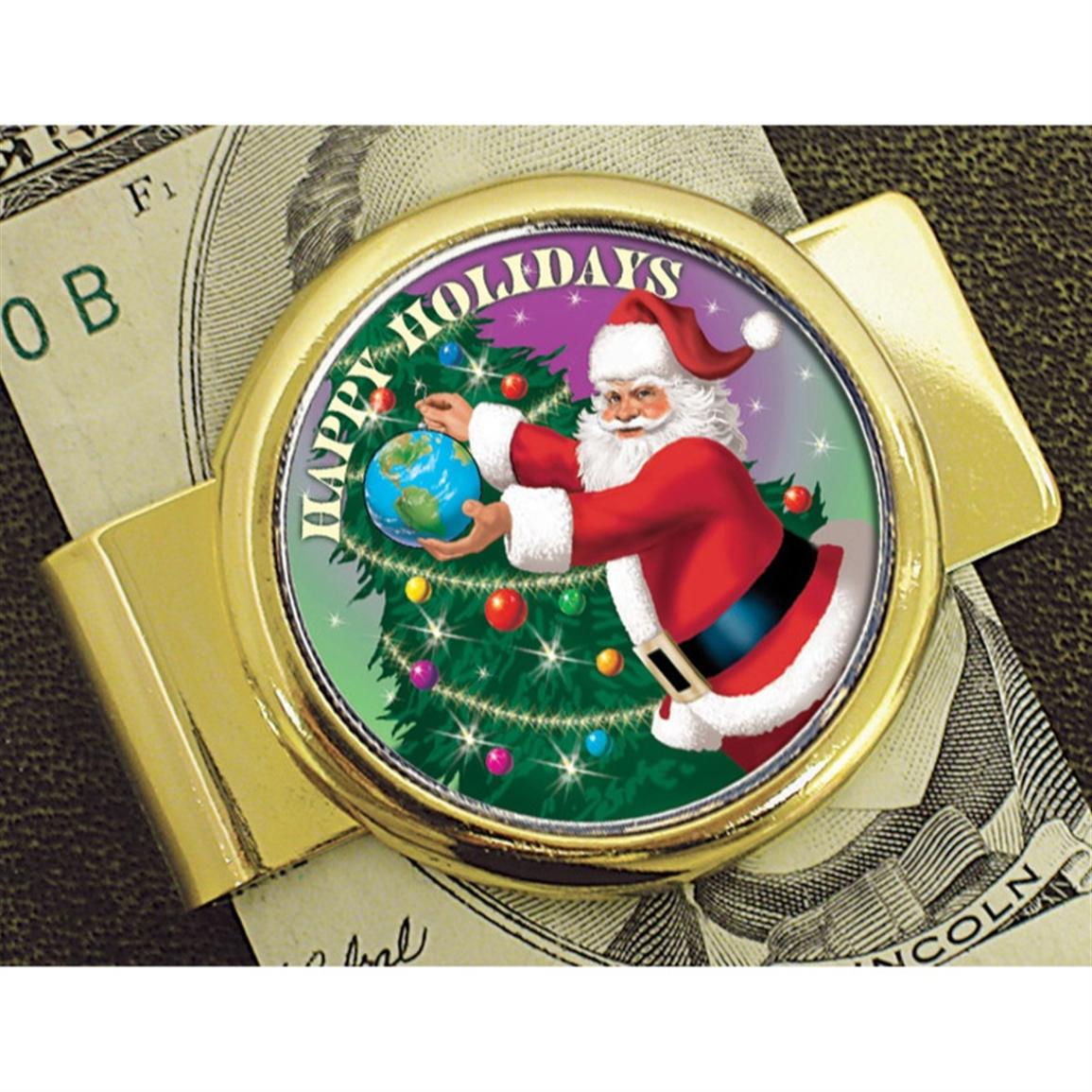 American Coin Treasures® Goldtone Moneyclip with Colorized JFK Half-Dollar Santa Coin