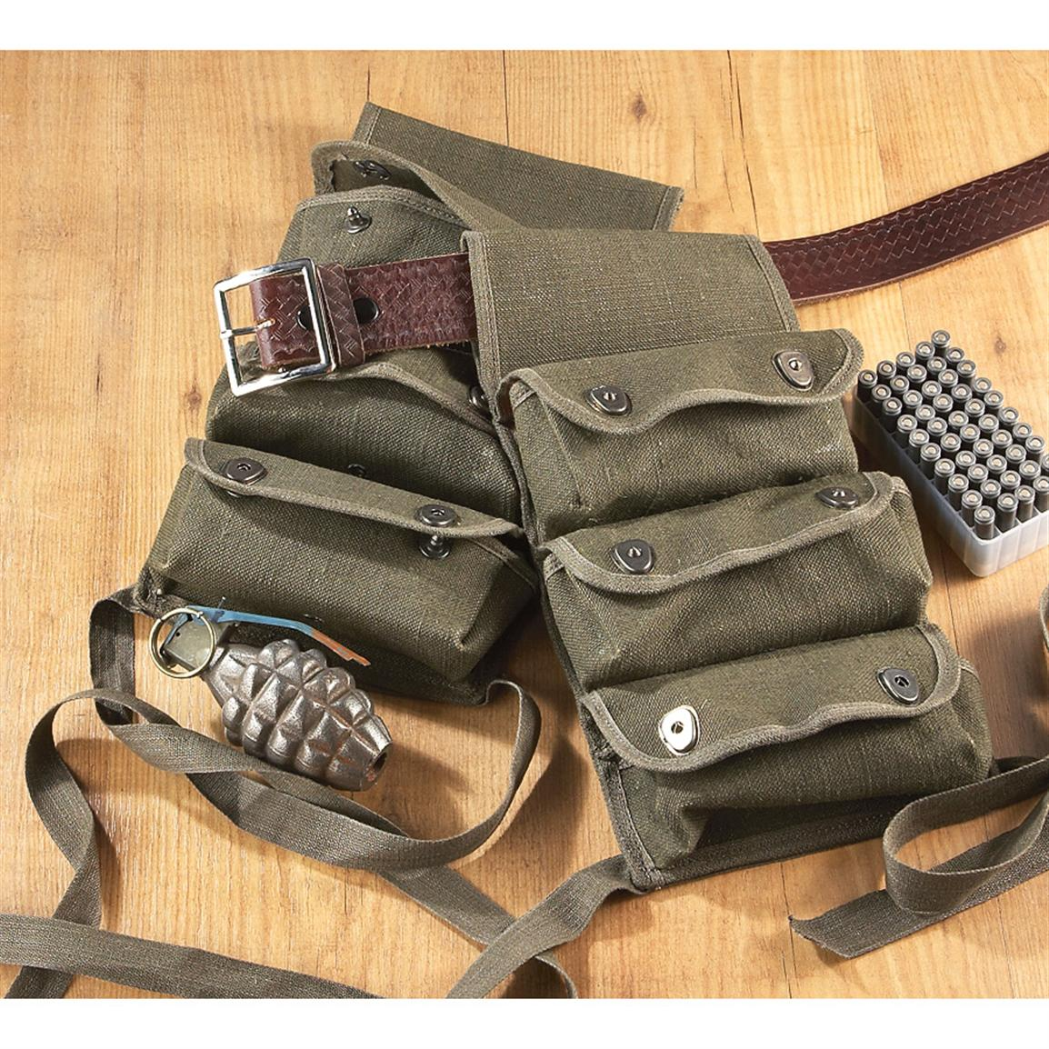 2 Used French Military Surplus Triple Grenade Pouches, Olive Drab