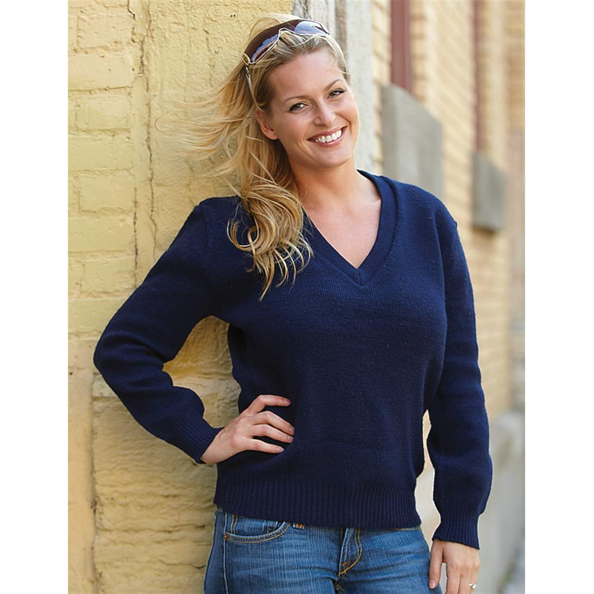 New French Military Surplus V - neck Wool Sweater, Blue - 205837 ...