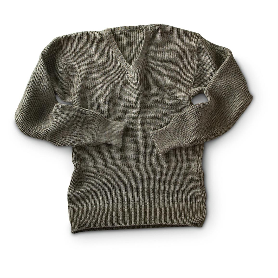 Used Swedish Military surplus-issue Wool Sweater, Brown