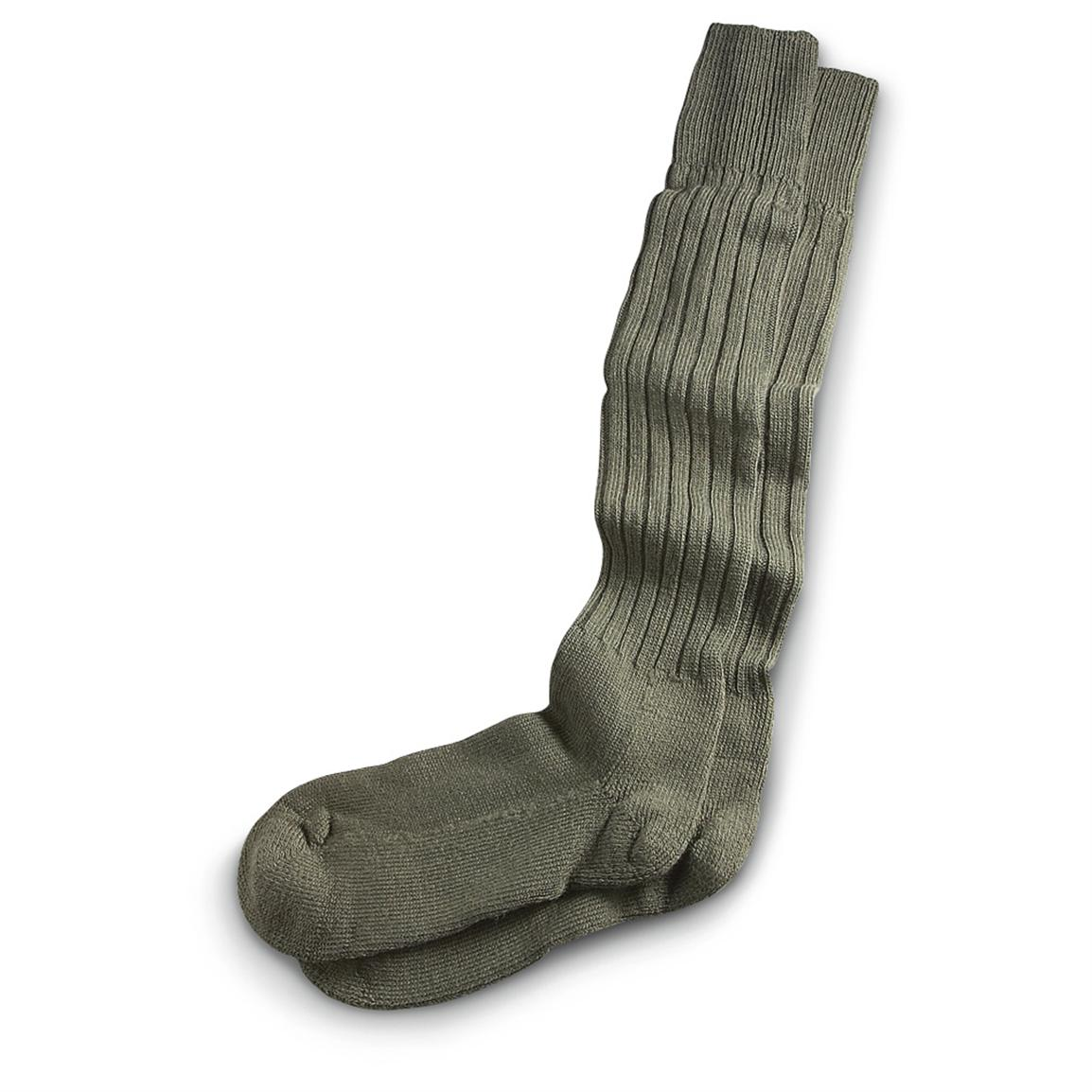 New German Military Surplus Extra-long Socks, Olive Drab