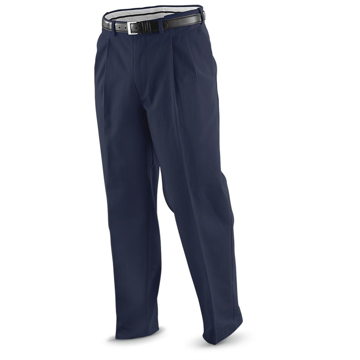 """Famous Maker"" Pleated Easy-care Pants, Navy"
