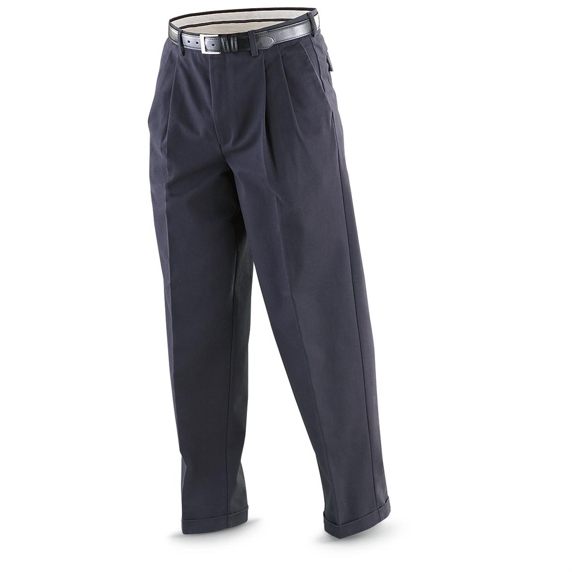 """Famous Maker"" Pleated Cuffed Easy-care Pants, Navy"