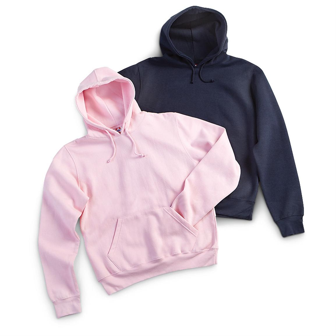 2 Pullover Hoodies, Pink and Navy