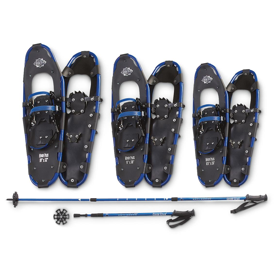 Guide Gear® High Pass Snowshoe / Pole Combo; 10x32 inch / 9x30 inch / 8x28 inch; Poles are height adjustable
