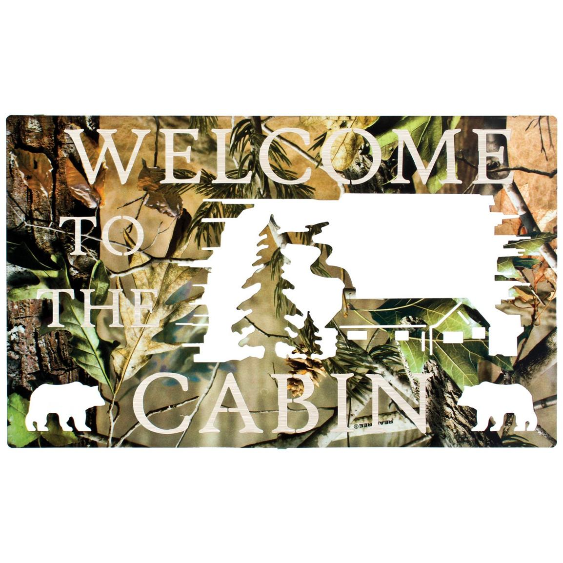 Lazart camo welcome to the cabin wall art 208041 wall for Cama quinsay