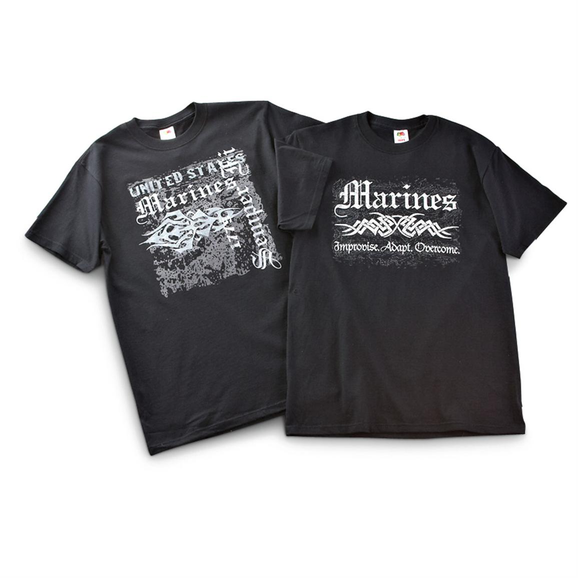 2 Tribal Military Branch T-shirts, Black