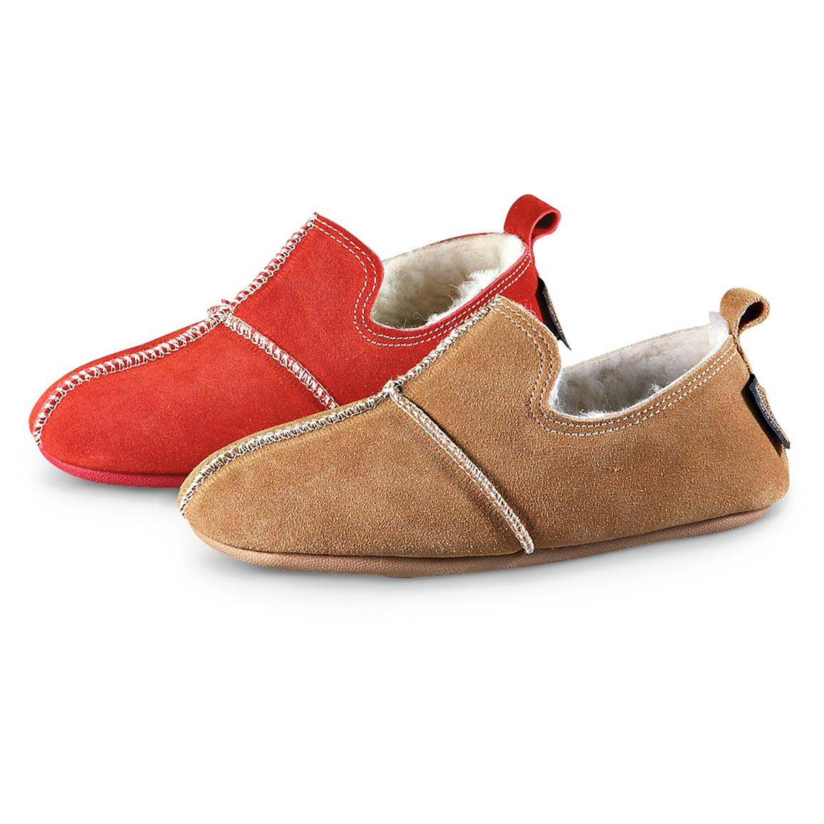 Women's Guide Gear® Joanna Slip-on Booties, Red and Chestnut