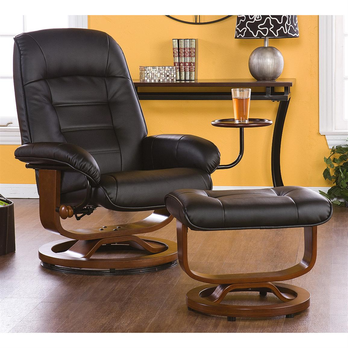 Hemphill Leather Recliner and Ottoman, Black