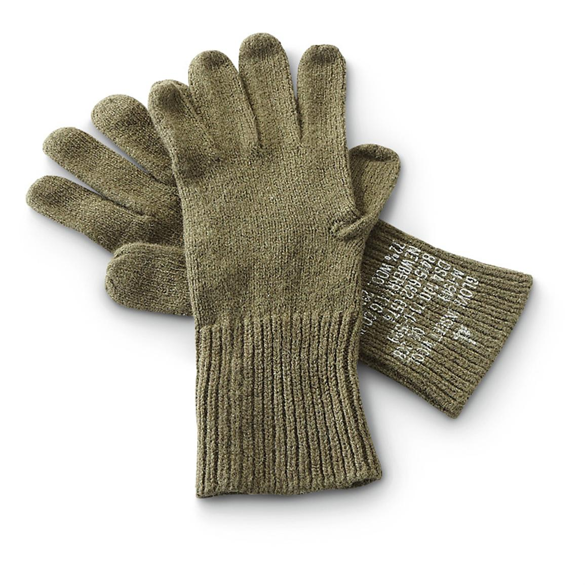 4 Prs. of New U.S. Military Surplus Glove Liners, Olive Drab