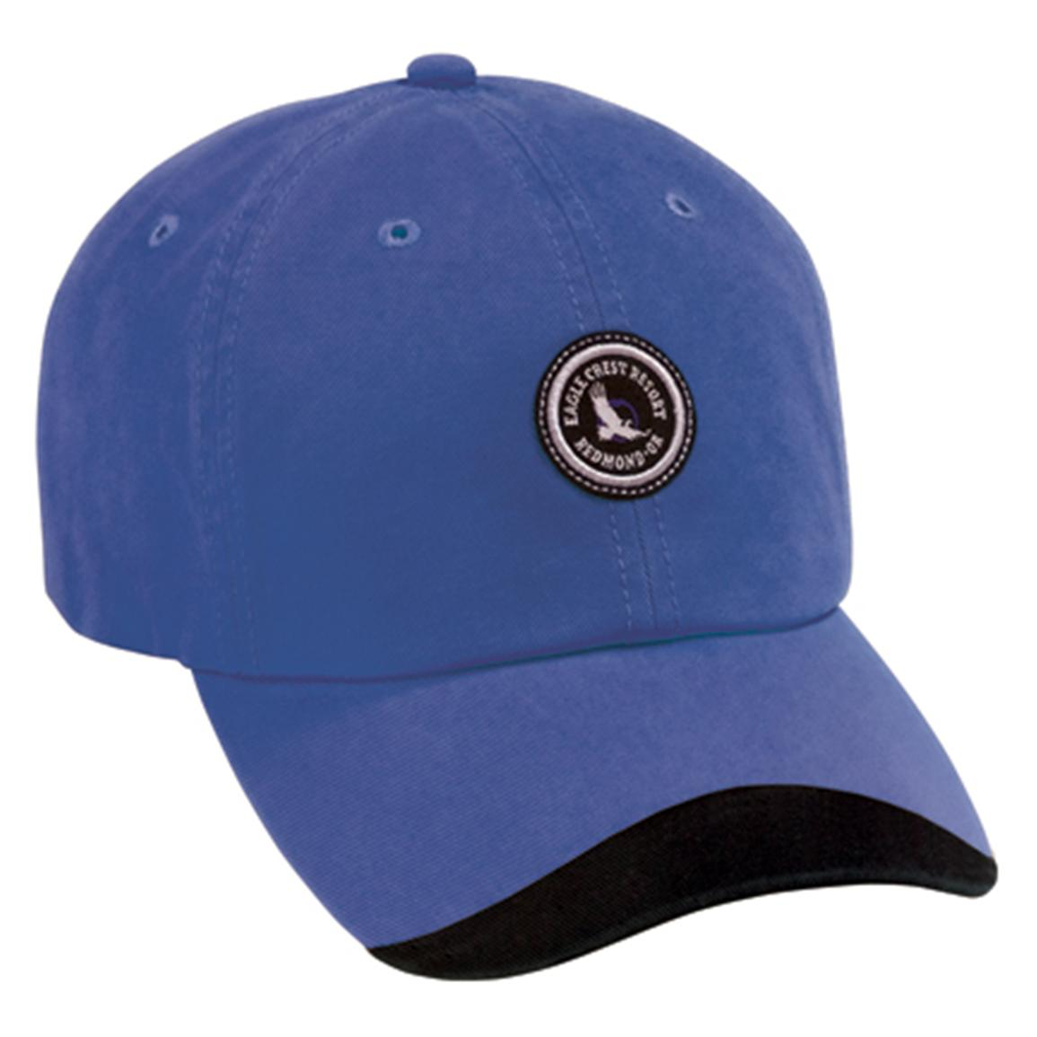 Page & Tuttle® Washed Twill Cap with Contour Bill, Cobalt/Black