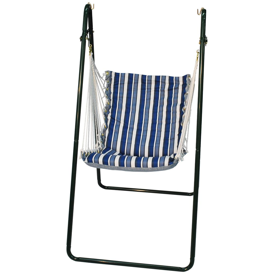 Algoma™ Swing Chair and Stand Combination, Tropical Blue Stripe