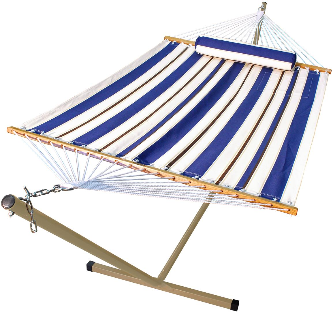 Algoma™ 11 foot Fabric Hammock, Pillow and Stand Combination, Blue / White