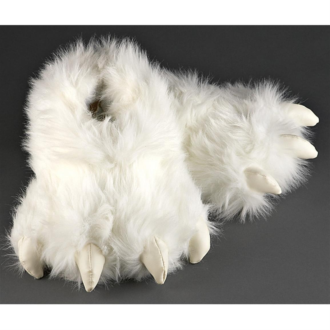 Furry White Creature Slippers 209606 Gag Amp Unique Gifts