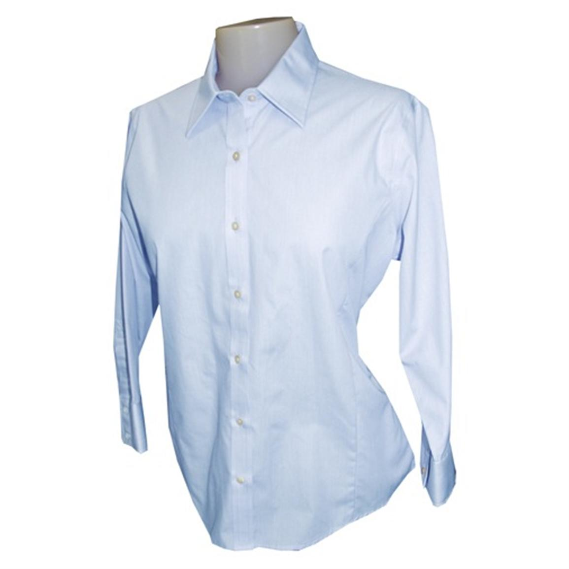 Women's Feather Stripe Broadcloth Button-down Shirt from Jockey®, Dutch Blue