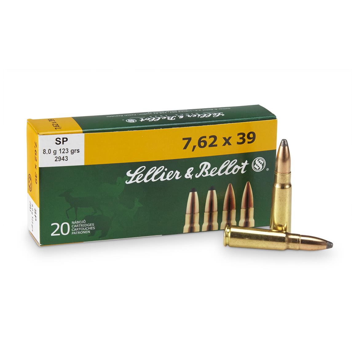 Sellier & Bellot® Rifle 7.62x39 123 Grain SP 20 rounds