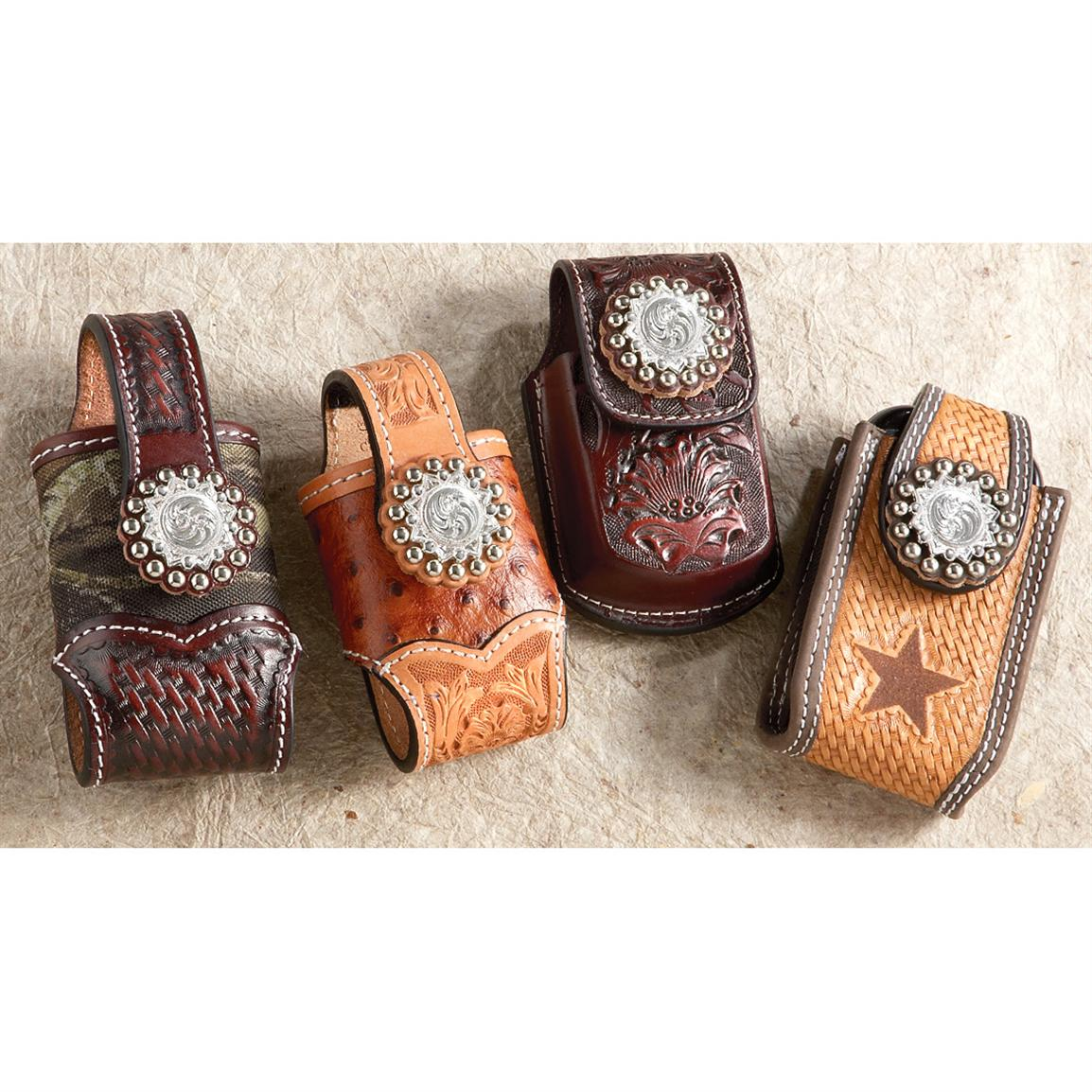 Montana Silversmiths® Hand-tooled Leather Cell Phone Case