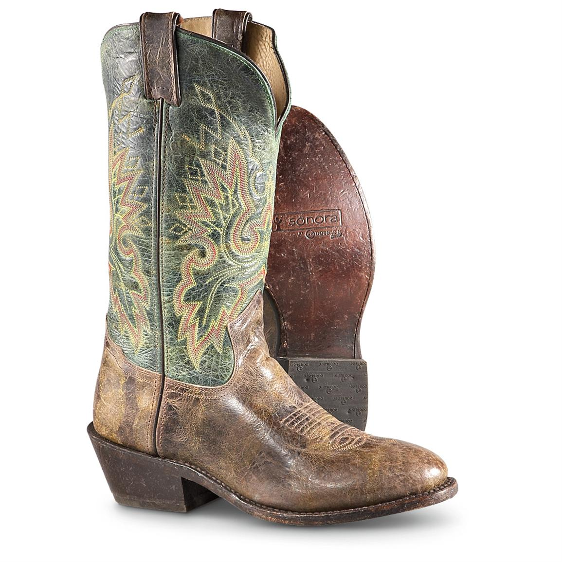 Men's Double H® 12 inch Western Boots, Onyx / Forest Green