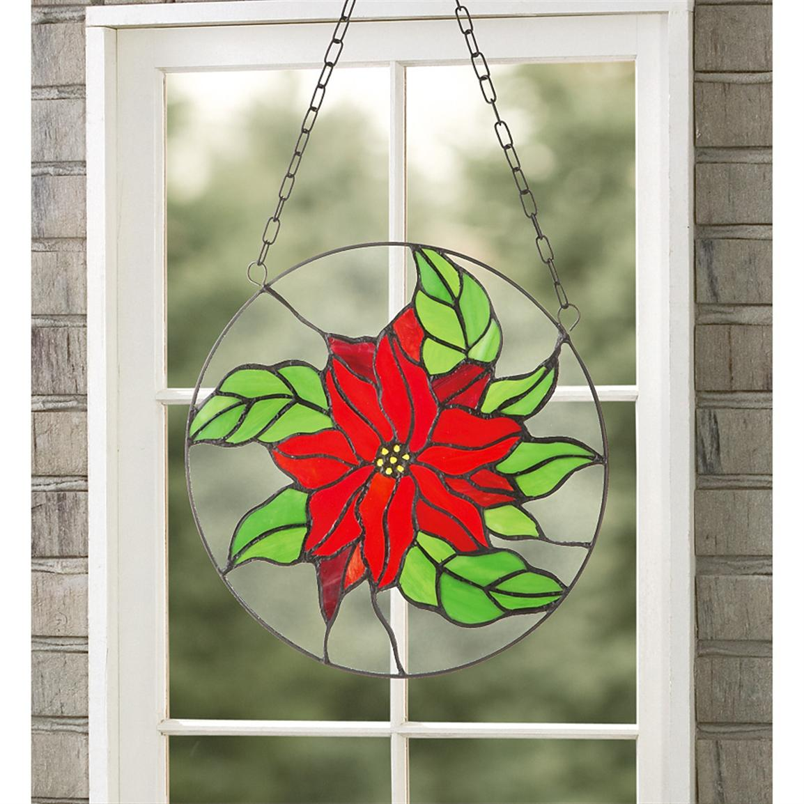 Stained Glass Poinsettia Window Panel