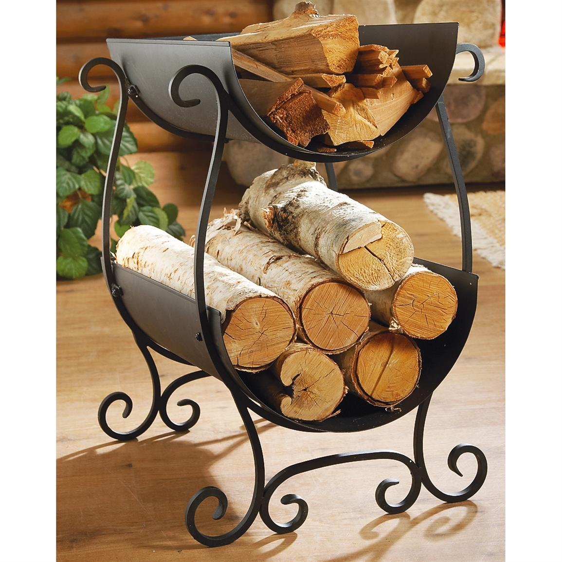 2-tier Log Rack, Black • Keep your kindling and logs separated and at hand