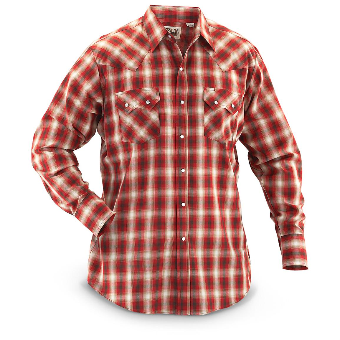 Ely® Long-sleeved Western Plaid Shirt, Red Plaid
