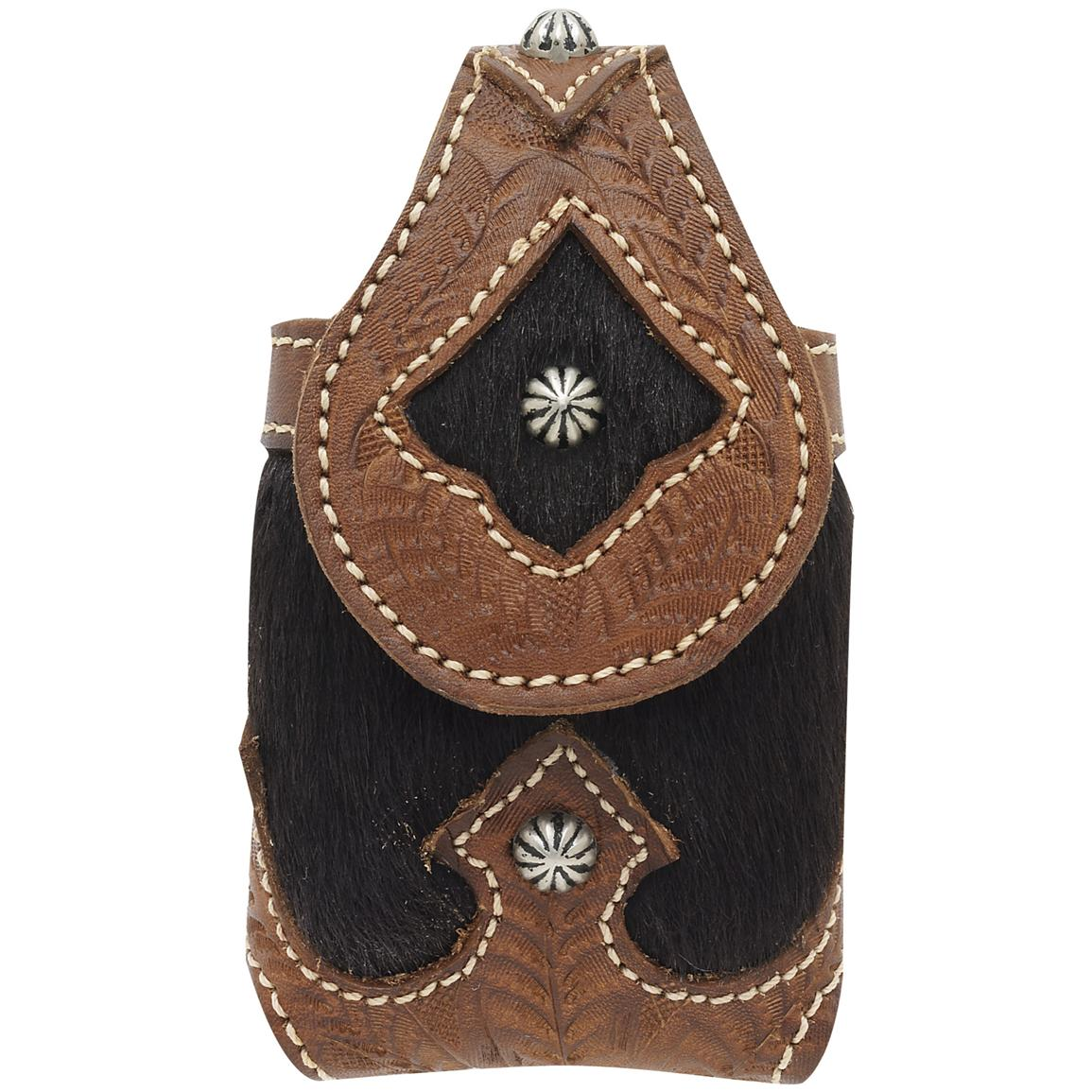 American West® Victorian Grace Collection Hand-tooled Tan Leather Cell Phone Case