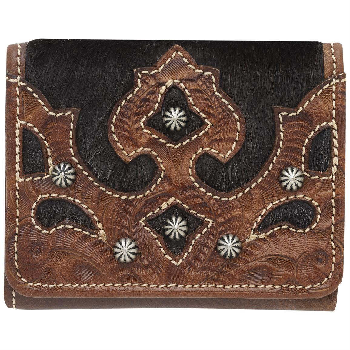 American West® Victorian Grace Collection Hand-tooled Tan Leather Tri-fold French Wallet