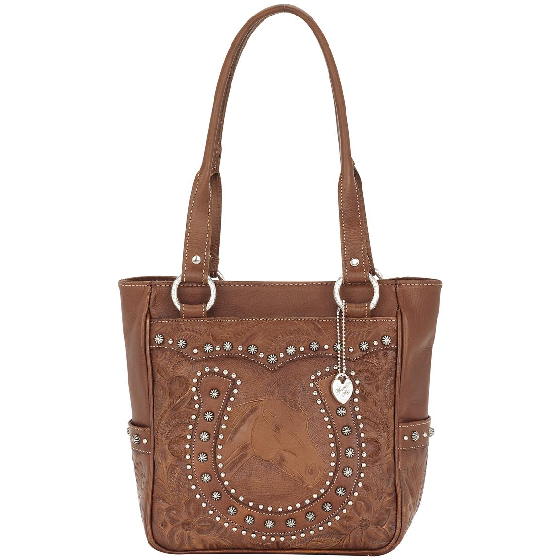 American West® Everyday Cowgirl Totes Collection Hand-Tooled Leather Zip-Top Horseshoe Tote Bag