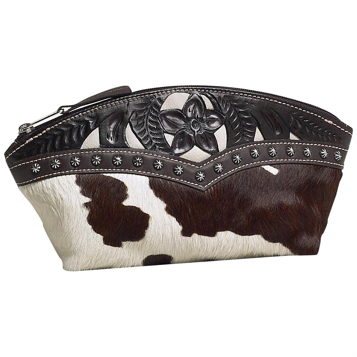 American West® Prairie Rose Travel Collection Hand-Tooled Leather Accessory Case