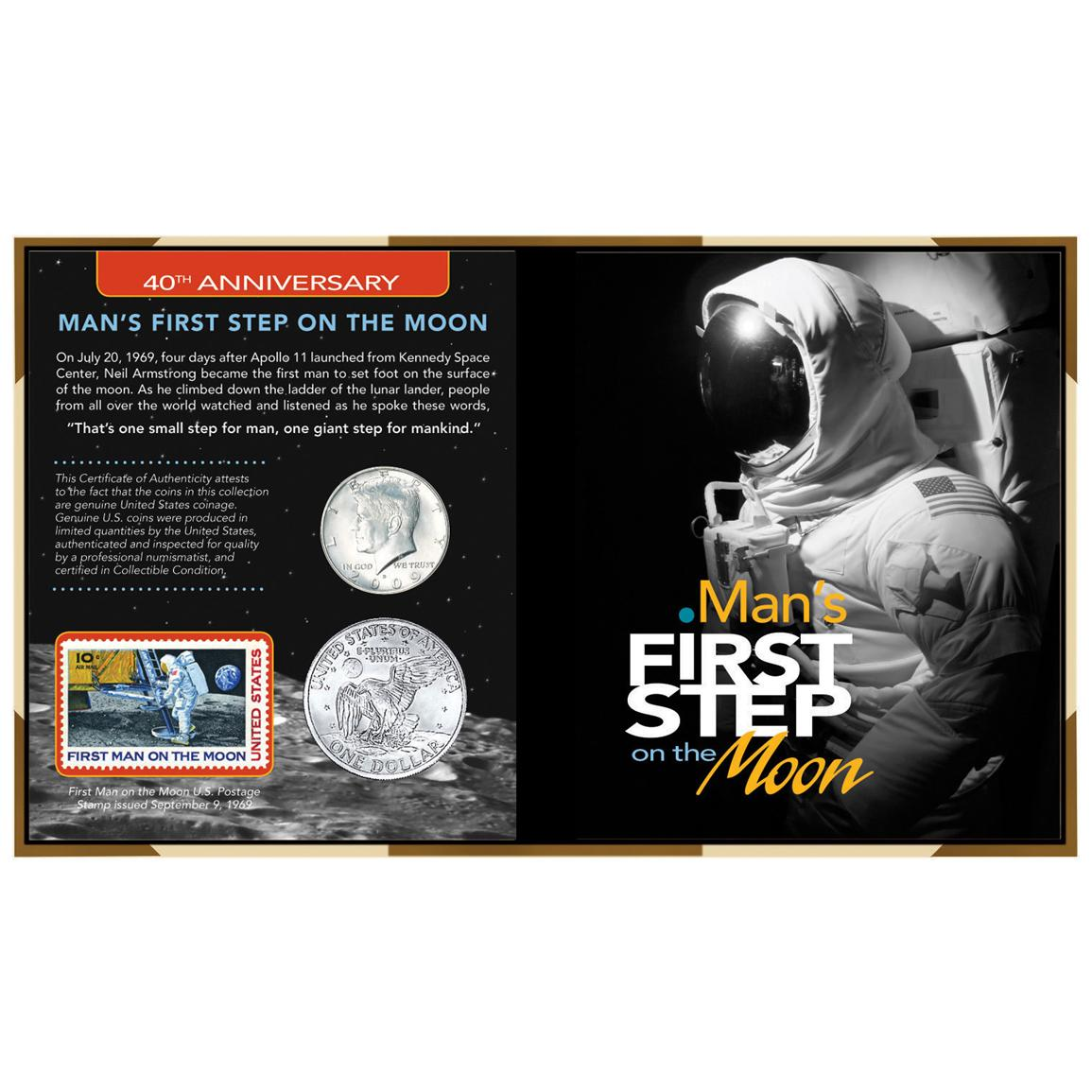 40th Anniversary Man's First Step on the Moon Coin and Stamp Display