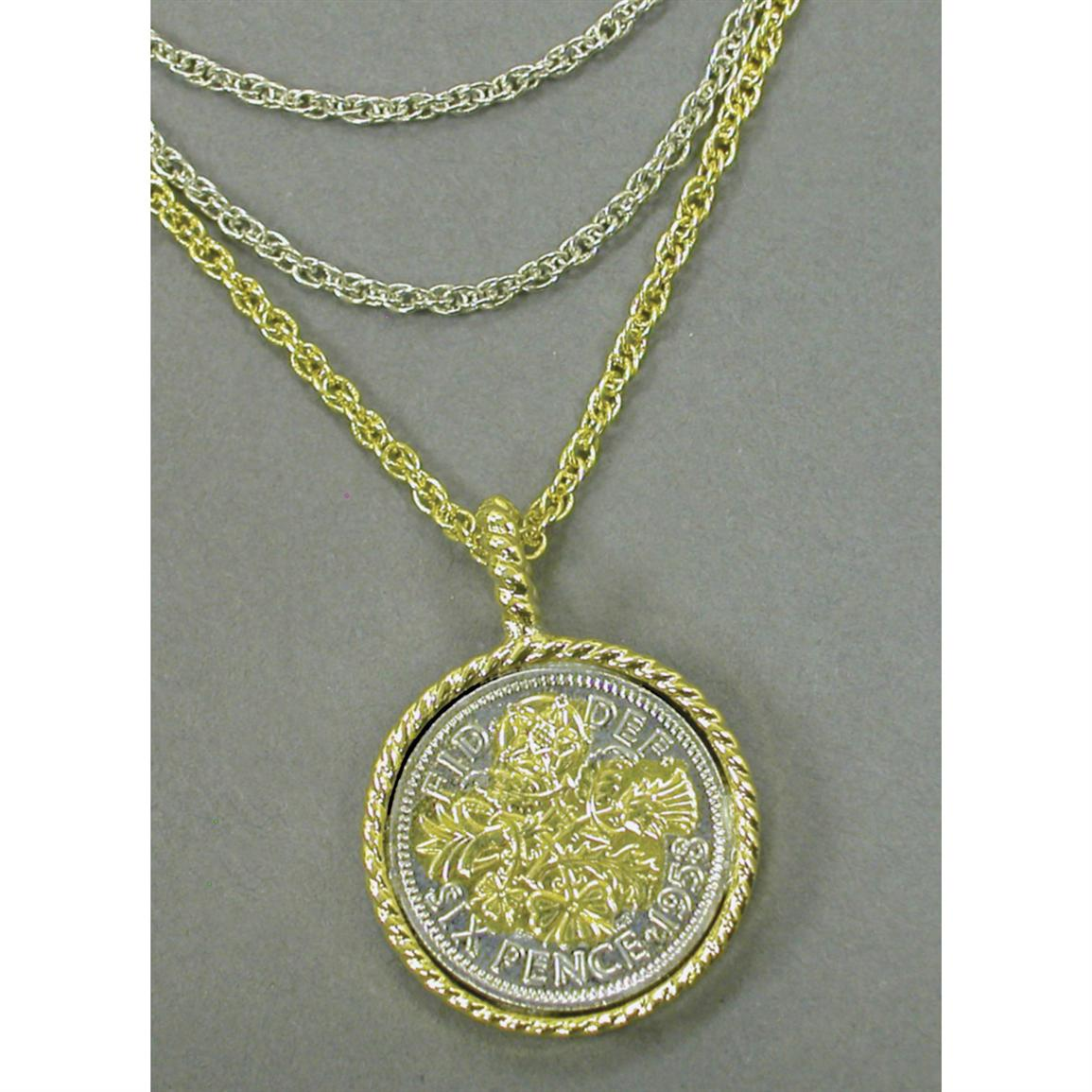 Gold-layered Lucky Sixpence Goldtone Pendant with Triple Chain from American Coin Treasures