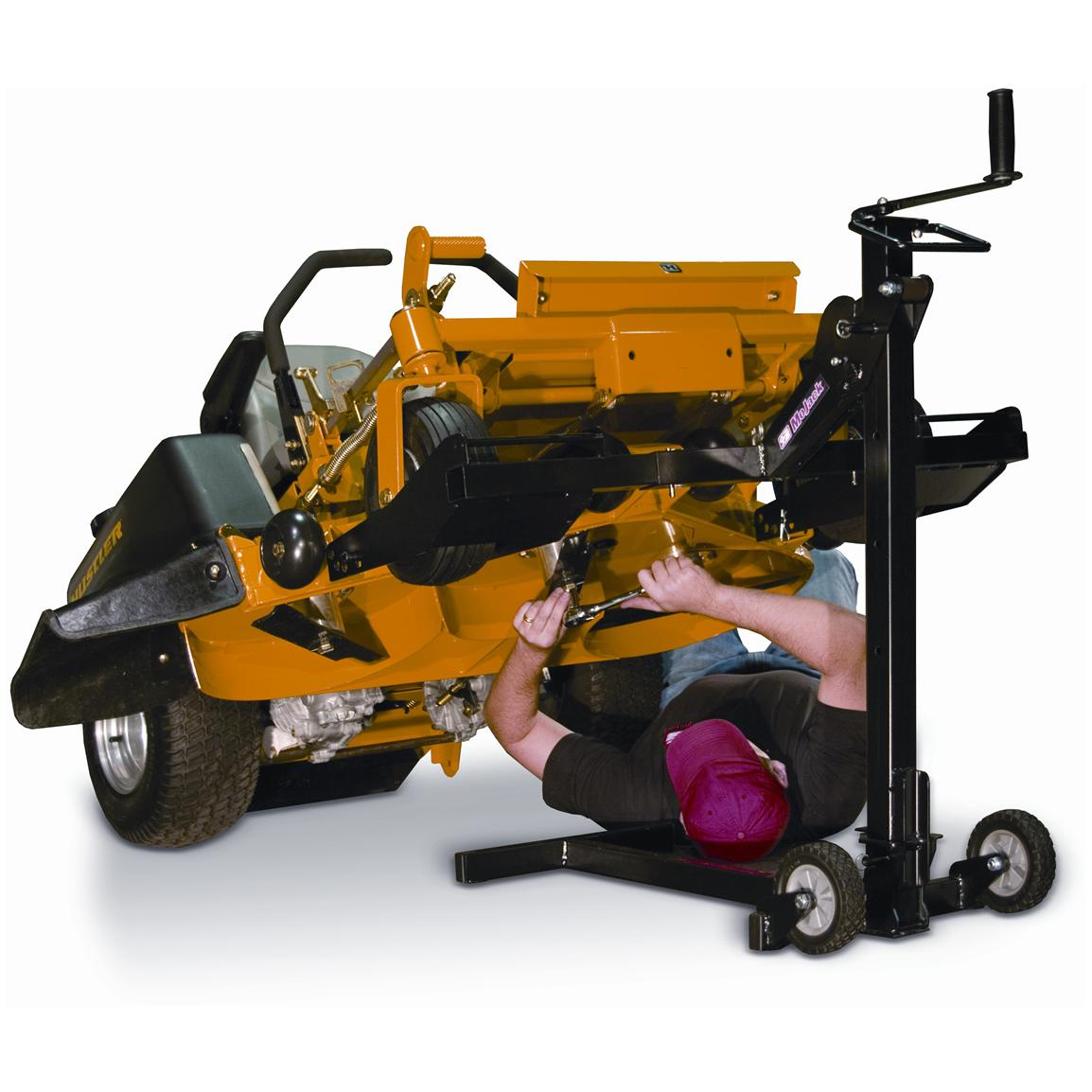 Easily raise mower with one hand, or with power drill