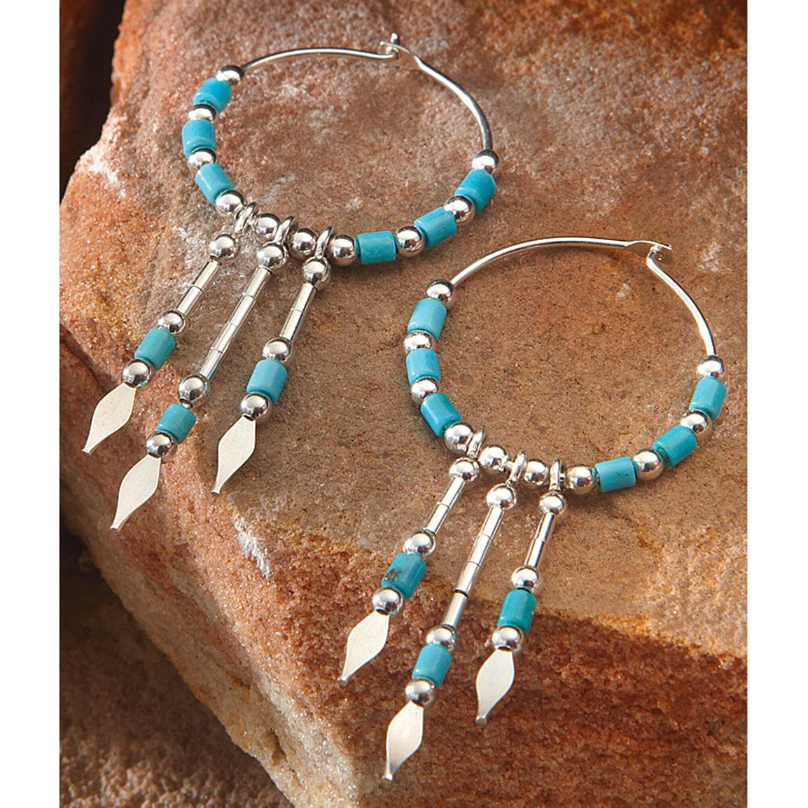 Sterling Silver Hoop Earrings with Turquoise Heishi Beads