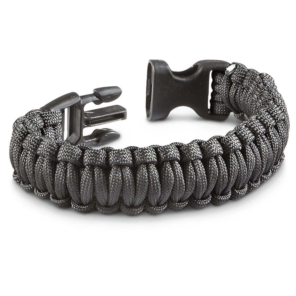 3 Paracord Military Survival Bracelets, Black