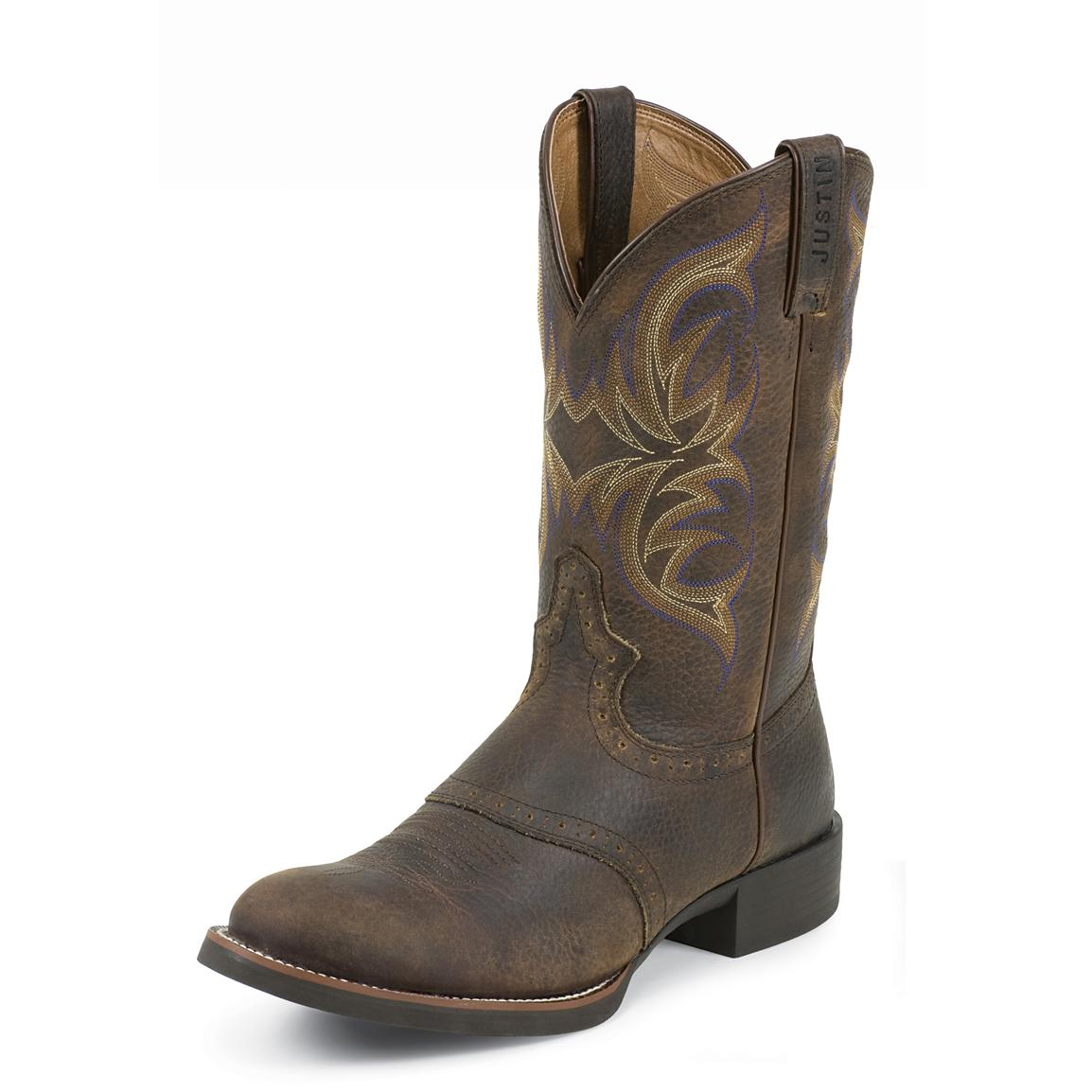 Men S Justin 174 11 Quot Stampede Cattleman Boots Dark Brown