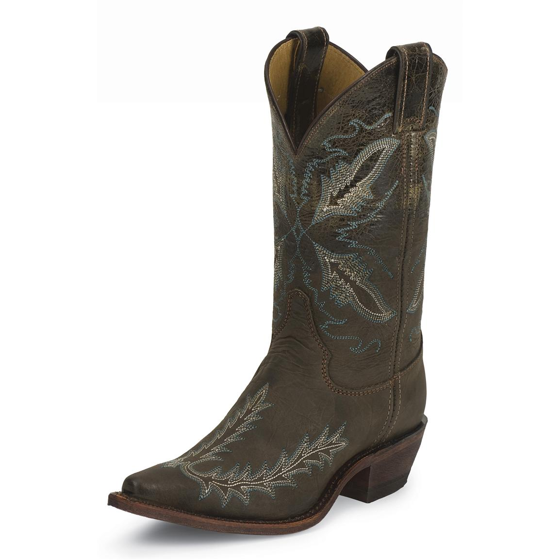 Women's Justin® 11 inch Bent Rail Western Boots, Chocolate