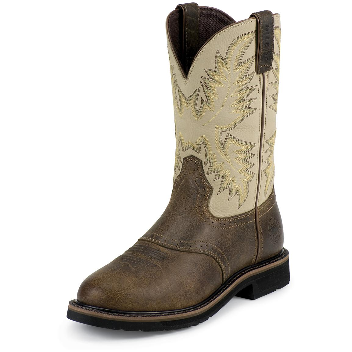 Men's Justin® 11 inch Stampede Western Boots, Waxy Brown