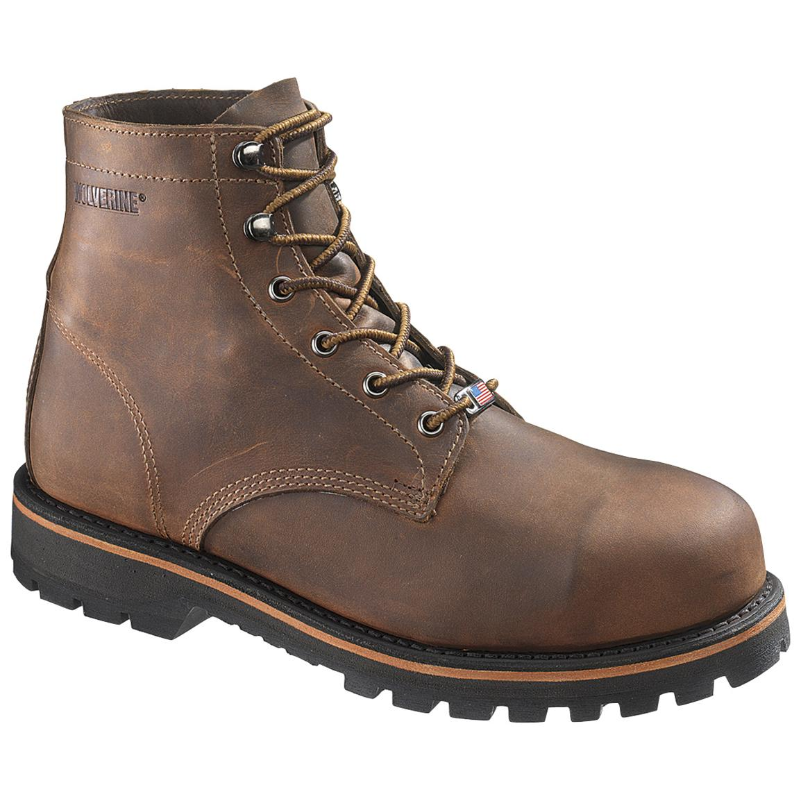 Men's Wolverine® 6 inch Plainsman Steel Toe EH Boots, Brown