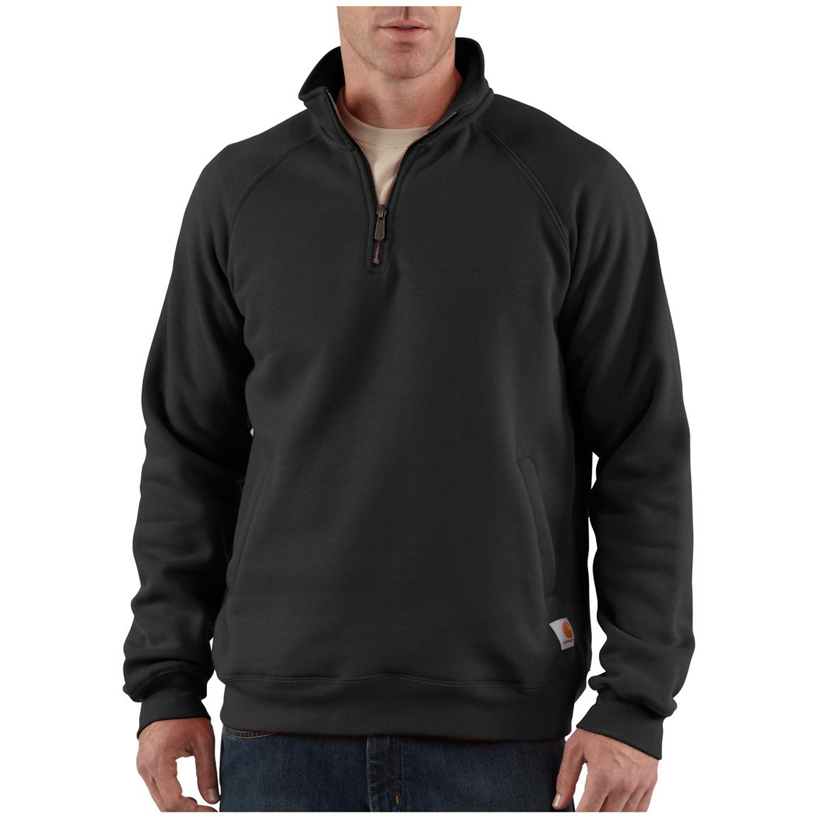 Carhartt® Midweight 1/4-zip Mock-neck Sweatshirt,, Black