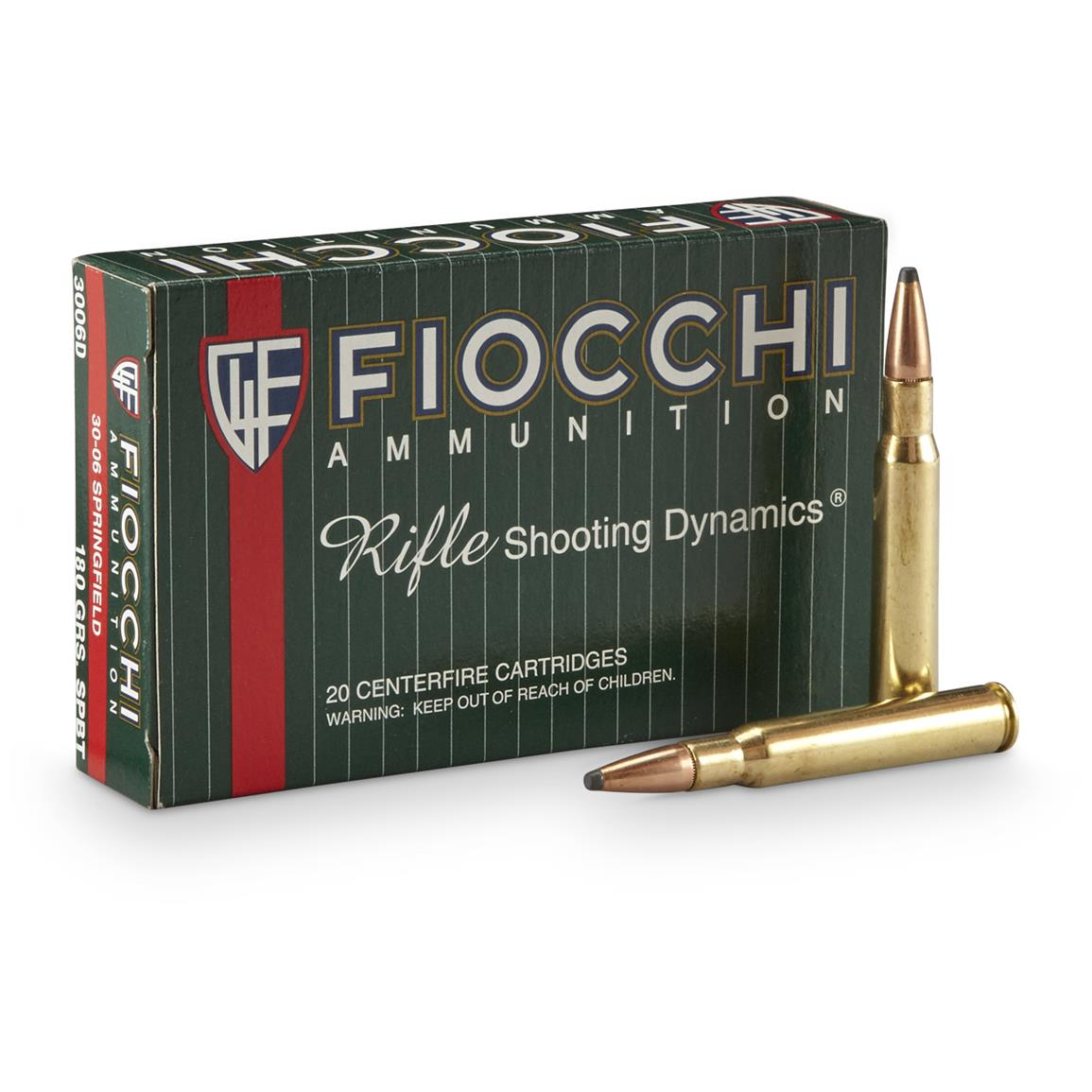 Fiocchi® 30-06 SPR PSP 180 Grain Rifle Shooting Dynamics Ammo, 20 Rounds