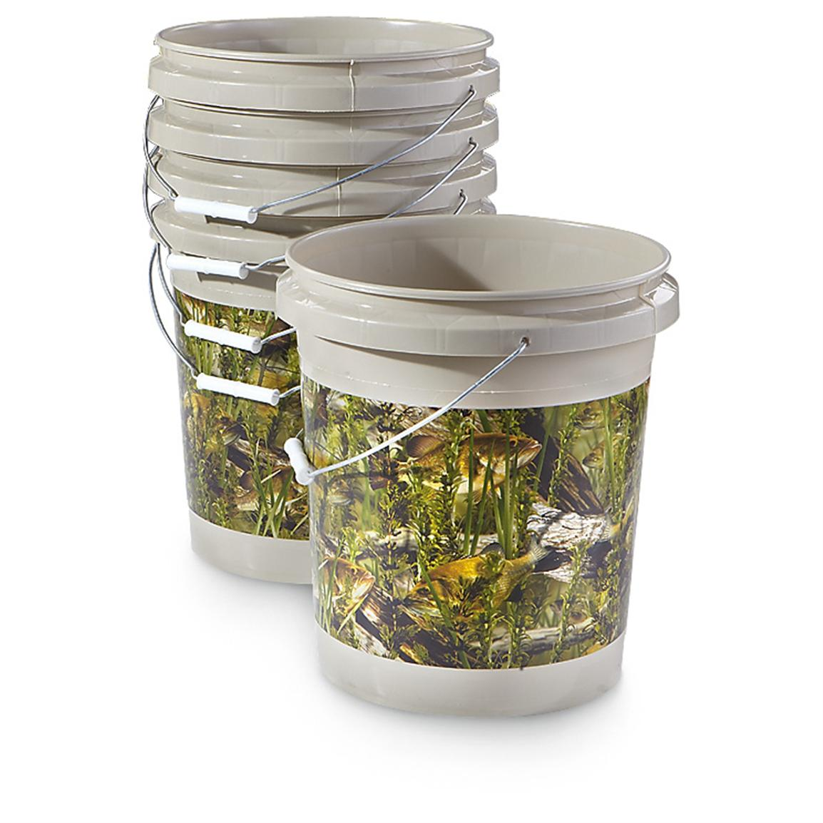 5-Pk. of 5-gal. Camo Pails, Fishouflage™