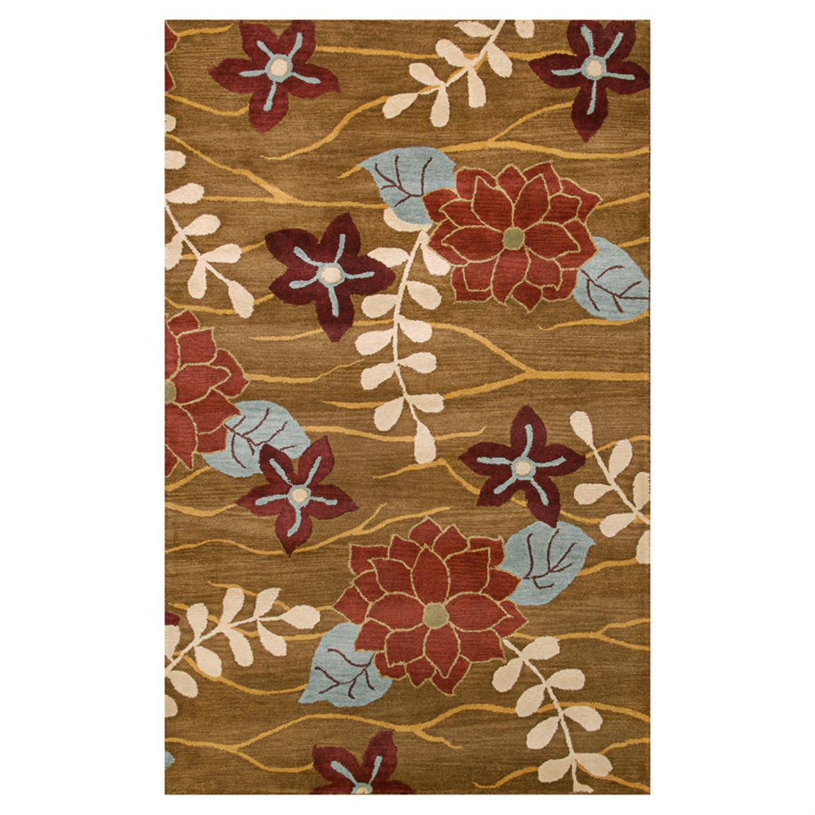 DonnieAnn 5x8 foot Avalon Area Rug, Dark Gold/Flower and Leaf Design