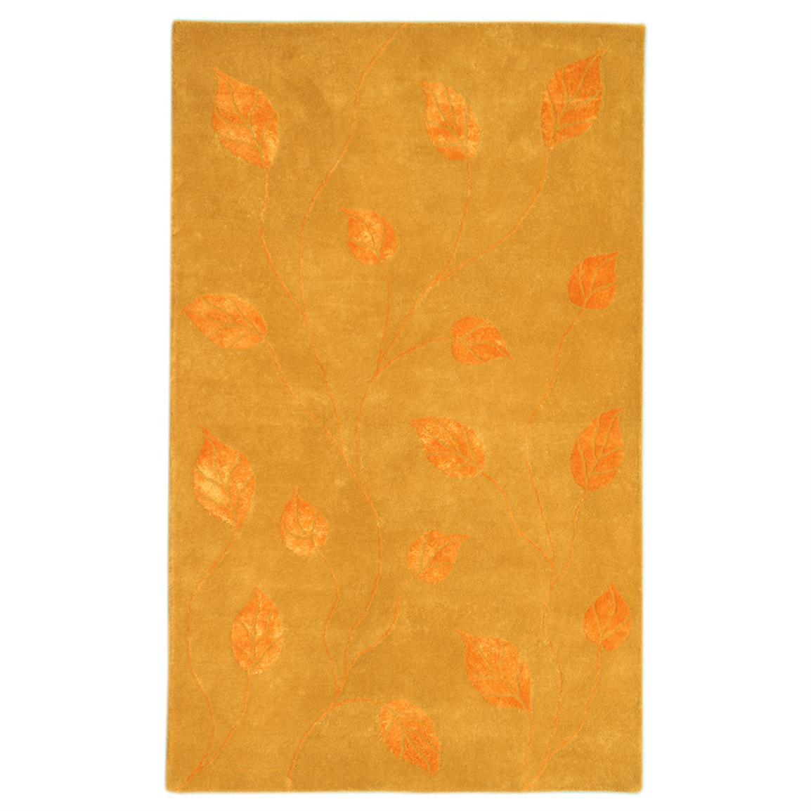 DonnieAnn 5x8' Florence Area Rug, Gold / Tangerine / Leaf Pattern
