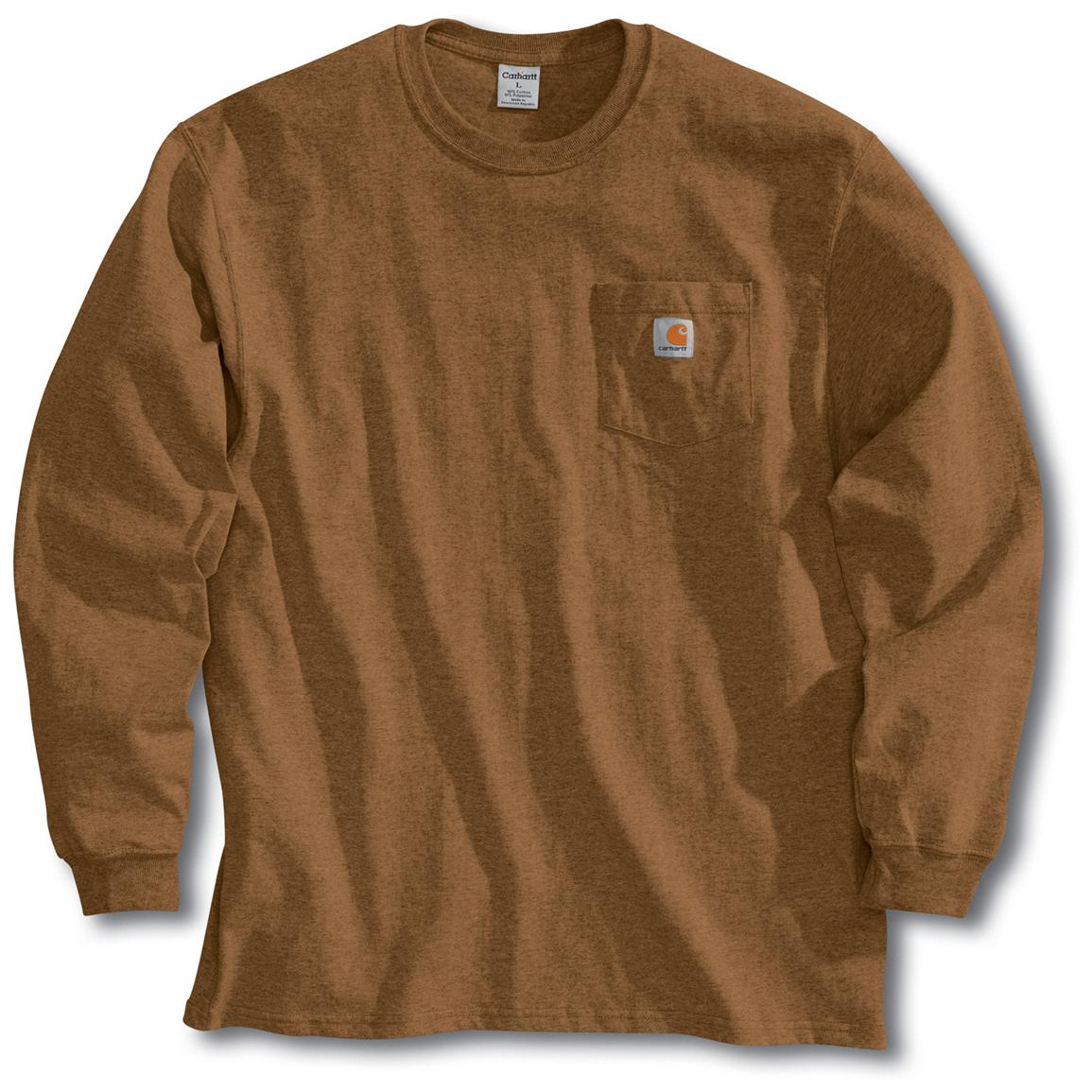 Men's Carhartt Workwear Long-Sleeve Pocket T-Shirt, Brown