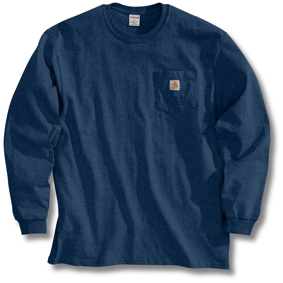 Men's Carhartt Workwear Long-Sleeve Pocket T-Shirt, Dark Blue
