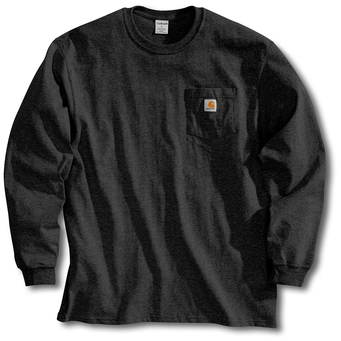 Men's Carhartt Workwear Long-Sleeve Pocket T-Shirt, Black