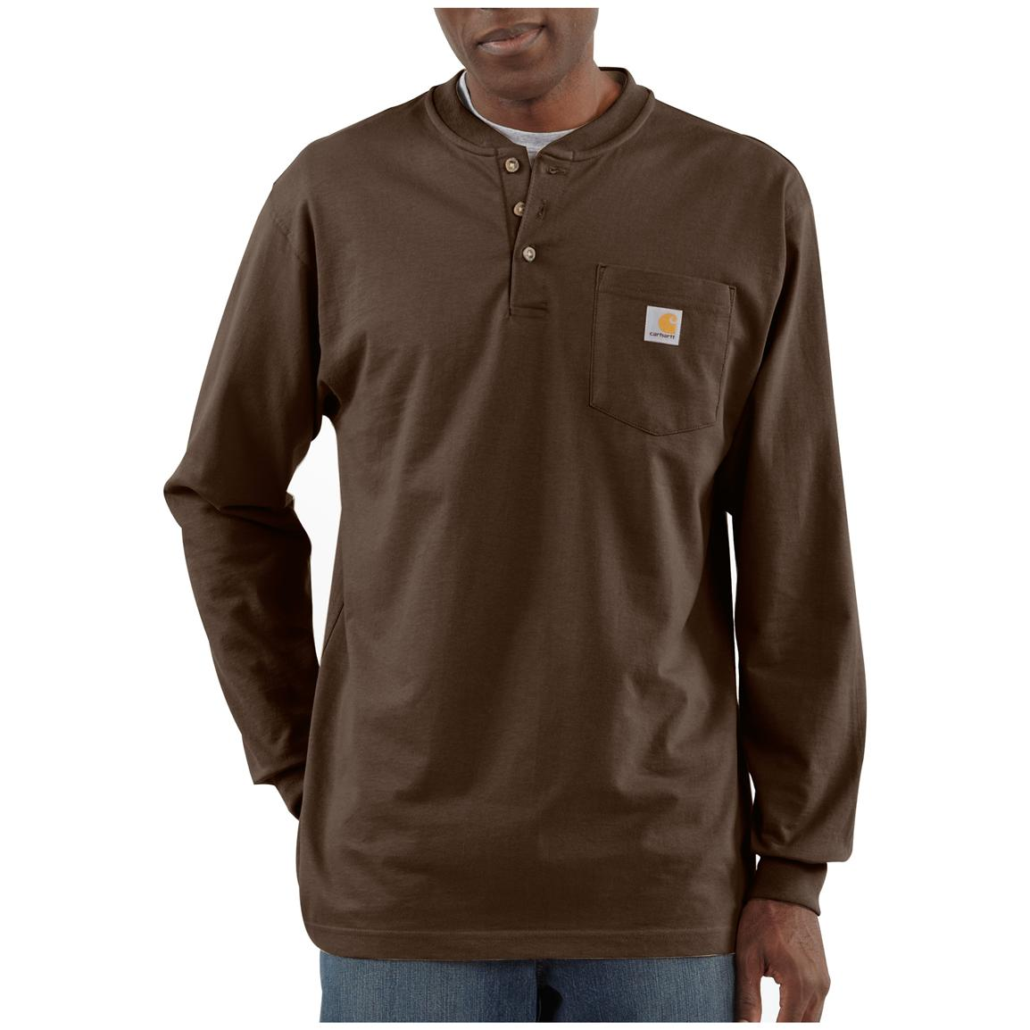 Carhartt® Long-sleeved Pocket Henley Shirt, Dark Brown
